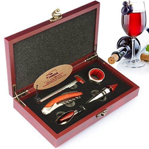 yobansa 3in 1Kellner-Korkenzieher, 5Stück Wein Zubehör Set, Flaschenöffner, Wein Stopper, Wein Ausgießer, Wein Ring und Thermometer-Set in Holzbox Reddish Box M5pcs