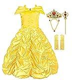 KABETY Mädchen Kleider Prinzessin Kleid Belle Einfarbig Cosplay Kostüme (Gelb mit Zubehör, 7-8 Jahren)