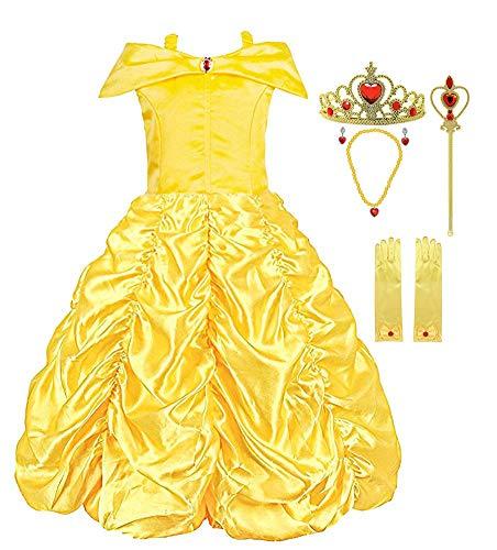 KABETY Mädchen Kleider Prinzessin Kleid Belle Einfarbig Cosplay Kostüme (Gelb mit Zubehör, 4-5 Jahren)