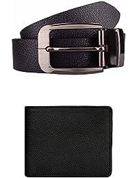 Exotique Men's Black Formal Belt & Wallet Combo (EC0010BK)