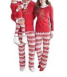 Lannister Fashion Famiglia di Natale Pigiama Suit Due Pezzi di Natale per papà Mamma Bambini Pajamas Xmas Set Top+Lungo Pantaloni Lettera Stampati Rossi Vacanza Babbo Manica Lunga Rotondo Collo