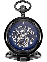 80fd9b326cd3 DBBKO Reloj de Bolsillo Gran Aleta mecánica Reloj Romano Tallada Esqueleto  Pocket Watch