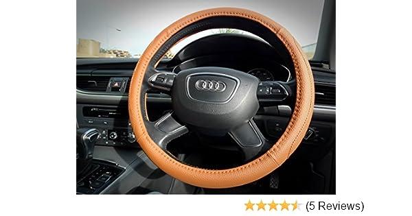 Wing Mirrors World Hyundai i10 Black Genuine Leather Steering Wheel Cover Glove 37cm