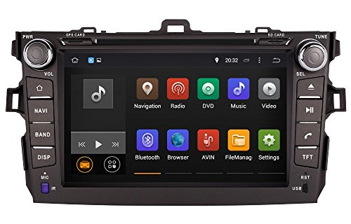 20,3cm-INDASH Android Auto DVD Player mit GPS-Navigation 3G/WIFI/BT, USB/SD AUX, Audio Radio Stereo, Car Multimedia Haupteinheit für Toyota Corolla 200620072008200920102011 (Toyota Corolla 2006 Auto Stereo)
