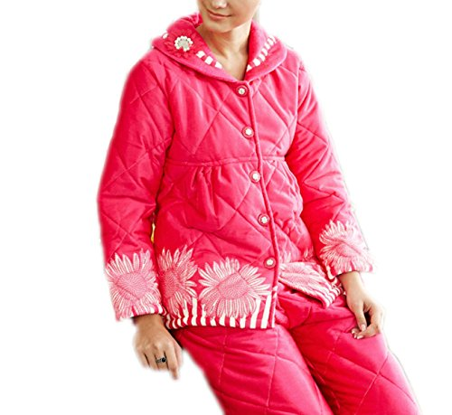 QPALZM Le Donne Ispessiscono Il Cotone Nuovo Autunno E Inverno Maniche Lunghe Pigiami Casa Servizio Giacca Cardigan Vestito Ispessimento Caldo 14