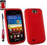 Emartbuy® Stylus Pack Per Samsung Galaxy W I8150 Mini Metallico Rosso Stylus + Silicon Cover/Custodia Rosso + Protezione Dello Schermo Lcd