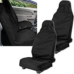 XtremeAuto® Waterproof Car Front Seat Covers (Pair) Tear Resistant Fabric in Black