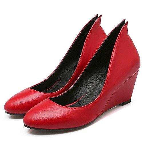 TAOFFEN Damen Schuhen Mit Hohen Absätzen Comfotable Keilabsatz Pumps Rot