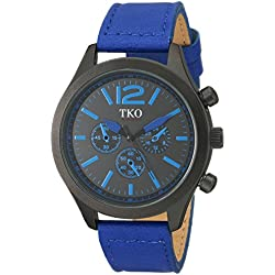 TKO Men's Matte Black Case Rugged Aviator Watch Blue Leather Military Watch TK650BL
