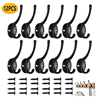 12PCS Dual Coat Hooks Wall Mounted Clothes Hook Wall Hooks Rustic Hooks with Screws for Bedrooms Bathroom Kitchen Hanging Clothes, Cap, Bag, Towel, Key, Cup (Black)
