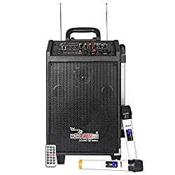 5 Core Trolley Type PA Bluetooth Enabled Personal DJ System also known as Rechargeable Portable Amplifier with Bluetooth Connectivity and Remote-Controlled 2 Wireless Microphones rendering High Volume & power output of 100W with an inbuilt speaker & battery, AC/DC operation, high-frequency FM receiver, LED display, USB/AUX functions