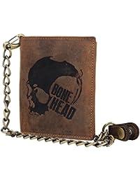Greenburry Geldbörse mit Kette Bikerbörse Totenkopf Motiv Bone Head braun aus echtem Rindleder gefertigt pflanzlich gegerbt. 15 Karten-Steckfächer vorhanden