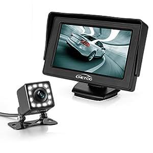Caméra de recul étanche à vision nocturne et à haute définition avec 12 LED + 4.3 pouces TFT LED d'affichage Moniteur de voitures