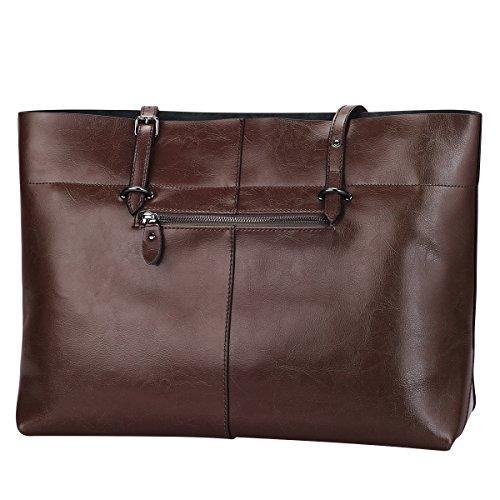 S-ZONE Damen Vintage Echtleder Tote Beutel Schultertasche Handtasche (Kaffee) Kaffee