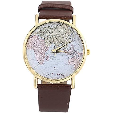 YARBAR Analógico mapa relojes de cuarzo relojes de moda las mujeres de Banda de Cuero