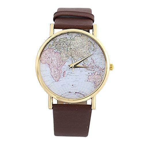 YARBAR mappa del mondo della moda donna globo leatheroid lega quarzo orologi da polso analogico