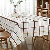 JOMNM Landhausstil Senior Leinwand Runde Rechteck Tischdecken Picknick - Decke, Retro - Tischdecke Für Esszimmer,Café,Hotel. (120X120CM, Weiß)