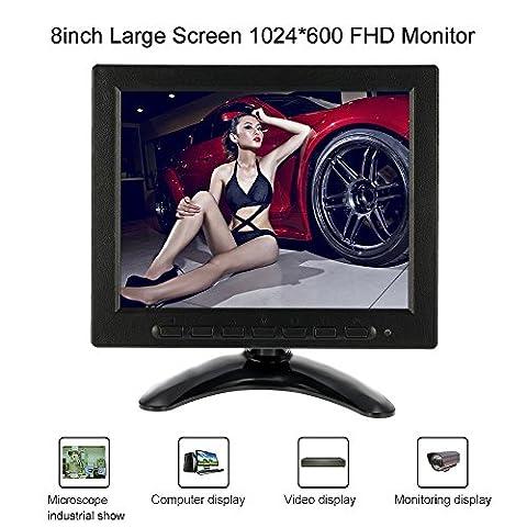 KKMOON 8 Zoll HD Auto TFT LCD Monitor Bildschirm(Auflösung: 1024 * 600, AV BNC VGA-Eingang )Unterstützt USB/SD Erweiterungs für PC CCTV Sicherheit Kamera DVR System hinten Anzeige