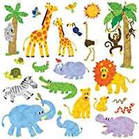 Decowall Jungle Animals Kids Wall Stickers Wall Decals Peel and Stick Removable Wall Stickers for Kids Nursery Bedroom Living Room (1513/8013)