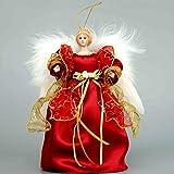COSETTE 25,4 cm realista ángel muñeca de porcelana decorativa para árbol de Navidad ornamento vestido de mariposa decoración, porcelana, Rojo, 10''