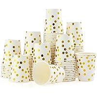 esonmus Partygeschirr Kindergeburtstag Set 60 Stück Pappbecher x 60 Stück 7In Dessertteller x 60 Stück 9In Pappteller Gold Tupfen Papier Einwegbecher & Geschirr