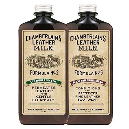 Chamberlain's Leather Milk Straight Cleaner Nr. 2 & Boot & Shoe Cream Nr. 6 - Set aus Reiniger & Conditioner für Lederstiefel & -schuhe - Naturbasis/ungiftig - Hergestellt in den USA - 2 Auftragepads - 0.18 L (Leder Geldbörse-reiniger)