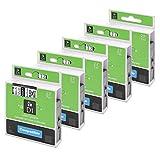 5x kompatibel Dymo D1 45013 Etikettenband 12mm x 7m kompatibel für Dymo LabelManager 150 160 220P 280, schwarz auf weiß
