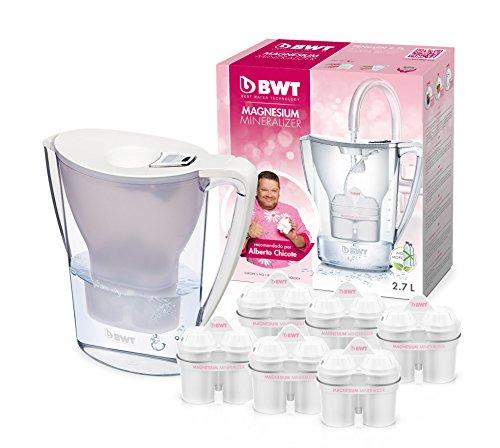 BWT Penguin Electrónica – Jarra filtradora de agua con magnesio + Pack 6 filtros jarra de agua, 2,7 L Blanca