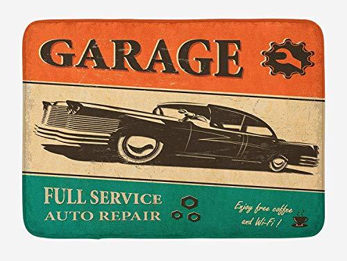 MSGDF Vintage Bath Mat, Garage Retro Poster with Classic Car Automobile Mechanic Nostalgic 50s, Plush Bathroom Decor Mat with Non Slip Backing, 23.6 W X 15.7 W Inches, Orange Beige Jade Green