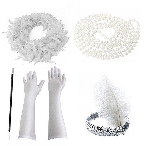 willkey Halloween Kostüm Flapper Kostüm für Damen 1920er Jahre Zubehör Set für Damen InnoBase Roaring 20s Kostüme Stirnband Ohrringe Perlen Halskette Handschuhe Zigarettenspitze (Weiß)