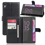 Cophone Etui coque housse de protection noir en cuir pour Sony Xperia XA ULTRA Etui porteufeuille noir haute qualité pour Sony Xperia XA ULTRA
