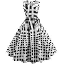 fca245e92cf UFACE Women s sleeveless mesh stitching wave point retro dress Printing  Sleeveless Mesh Patchwork Outdoor