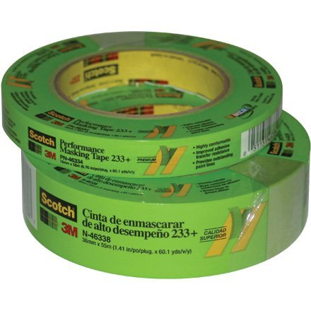 3M Scotch 233+ Crepe Paper Performance Masking Tape, 250 Degree F Performance Temperature, 25 lbs/in Tensile Strength, 60 yds Length x 1/2