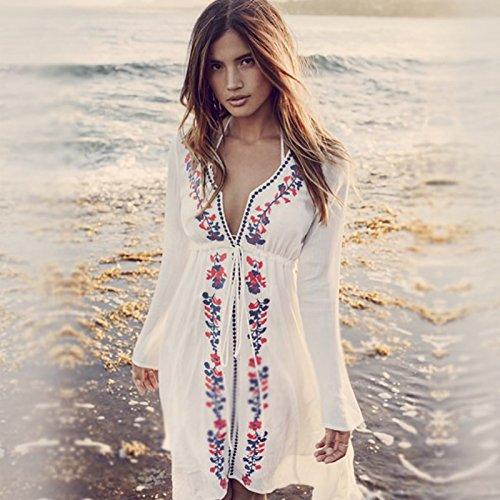 ShouYu ShouYu Der Badeort Strand Jacke Bekleidung Bikini, Decken Sie das weiße Sun Yi Frauen Lange Reisen, Badesachen, Masse, EINE GRÖSSE schlanker Baumwolle V-Ausschnitt Stickerei