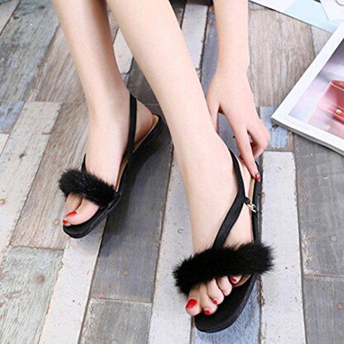 Transer® Damen Flach Elegant Sandalen Schwarz Rosa PU-Leder+Gummi Künstliches-pelz Sandalen Schwarz