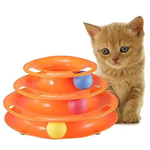 Zeagro Tower of Tracks - Katzen Spielzeug Kreisel mit Ball - Dreistöckige Interaktive Drehscheibe