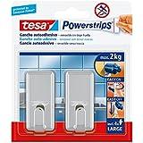 Tesa 58051-00011-01 - Pack de 2 ganchos grandes clásicos, cromados + 4 tiras
