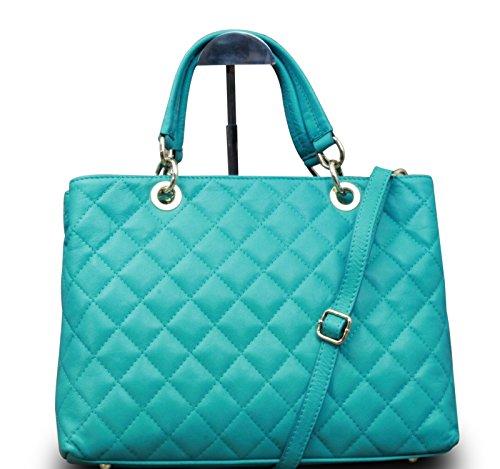 Fabriqué en Italie Luxe Sac porté épaule pour femme Hobo Clutch Party Bag en cuir nappa véritable matelassé Turquoise