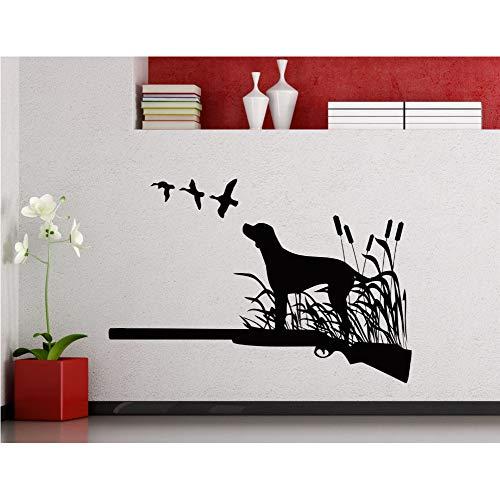 Hund stehend auf Gras gemusterte Wandaufkleber Vinyl Art Home Wandbilder mit fliegenden Vögeln Wand Poster Hund Silhouette Pflanzen 57 * 79cm -