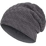 Compagno warm gefütterte Beanie Wintermütze angesagtes Strickmuster Fleece-Futter Mütze Einheitsgröße, Farbe:Grau
