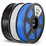 Enotepad PLA Plus 3D Printer Filament,PLA+ 1.75 mm,0.5KG per Spool(3.3lbs) 3 Spools,Dimensional Accuracy +/- 0.02 mm,Compatible with most 3D Printer/3D pen,?Black+White+Blue?