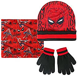CAPPELLO SCALDACOLLO E GUANTI AVENGERS O SPIDERMAN DA 3 A 7 ANNI Blu (Spiderman)