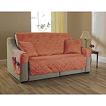 2 Seater Settee Cover Willow Terracotta Quilted Furniture Sofa Cover Protector Jacquard