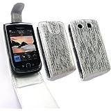 Emartbuy ® Blackberry 9800/9810 Torch Premium-Glitter Flip Case / Cover / Tasche Silber