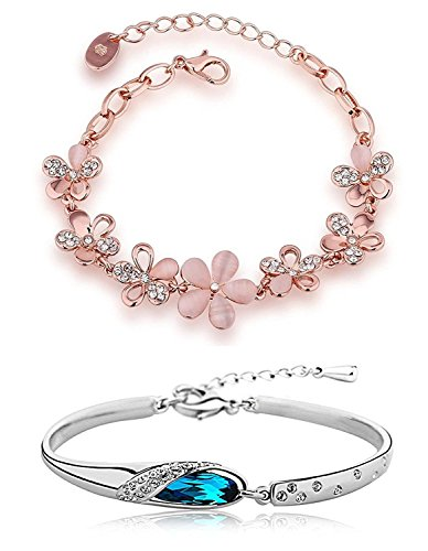 YouBella Artificial Jewellery Designer Combo of Two Crystal Bangles Jewellery Bracelets For Girls and Women