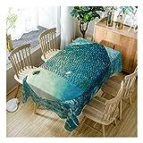 ZHAOXIANGXIANG Digital Bedruckte Polyester Wasserdicht Tabelle Mat Mode 3D Big Fett Fisch Muster Home Decor Tischdecke,130Cm×180Cm