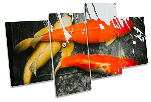 Canvas Geeks Leinwandbild, Motiv Koi Goldfisch Abstrakte Fische, Mehrfarbig, 200cm Wide x 113cm high (Koi-113)