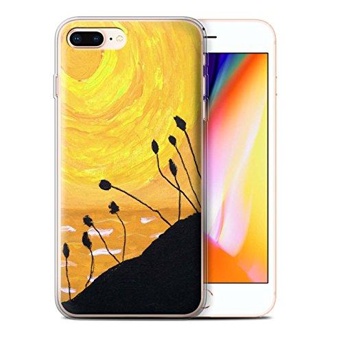 Stuff4 Gel TPU Hülle / Case für Apple iPhone 8 Plus / Orange Muster / Sonnenuntergang Ölgemälde Kollektion Gelb