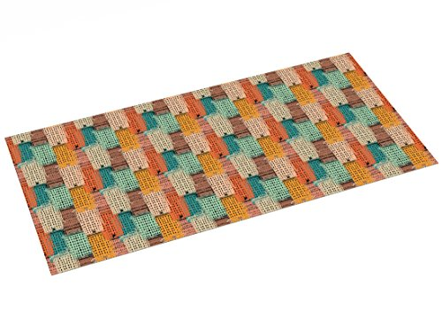 Printodecor - Alfombra Vinílica Impresa con Diseño Orgánico, Plástico y PVC, Retro Multicolor, 97 x 48 cm