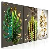 decomonkey Bilder Pflanzen 120x60 cm 3 Teilig Leinwandbilder Bild auf Leinwand Vlies Wandbild Kunstdruck Wanddeko Wand Wohnzimmer Wanddekoration Deko Monstera Blätter Gold braun
